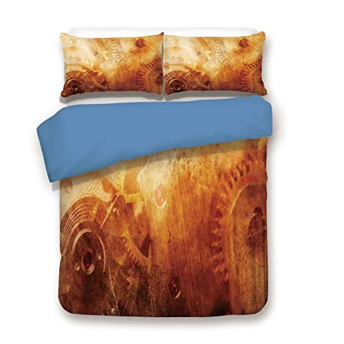- Duvet Cover Set King Size, Decorative 3 Piece Bedding Set with 2 Pillow Shams, Background of Ancient Machinery Mechanism in Retro Colors Historical Rust Motion Concept