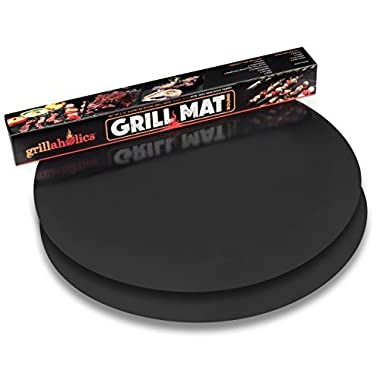 Grillaholics Grill Mat Round - As Featured on Rachael Ray Top Grilling Accessories - Set of 2 Nonstick BBQ Grilling Mats - 15 Inch (Round)