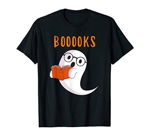 Cute Ghost Book Worm Nerd Boooks Halloween Party Costume Tee T-Shirt