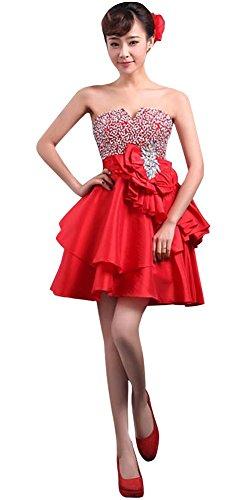 Mini Vestito Rosso Del Promenade Damigella Perline Breve Da Senza Donne D'onore Partito Della Paillettes Spalline Delle Drasawee FIwHX4