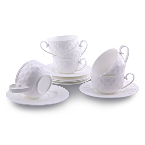 [T4U 5 Ounce Damond Bone China Coffee Cups and Saucers with Handle for Coffee Latt Mocha Cappuccino Espresso Tea Cups and Saucer White sets of 6] (Bone China Cup Saucer)