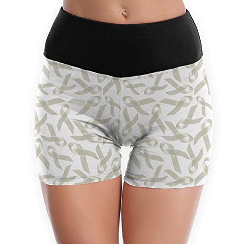 LDGT@DU Womens Yoga Shorts Lung Cancer Awareness Pattern High-Waist Sports Shorts White -