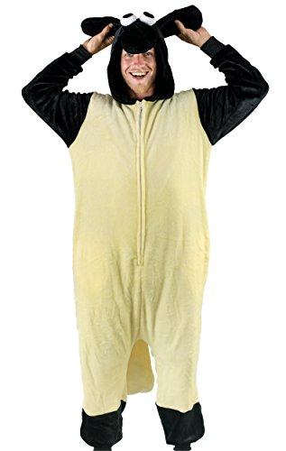 Bad Bear Brand Adult Onesie Sheep Animal Pajamas Comfortable Costume With Zipper and Pockets, Black/Beige, -