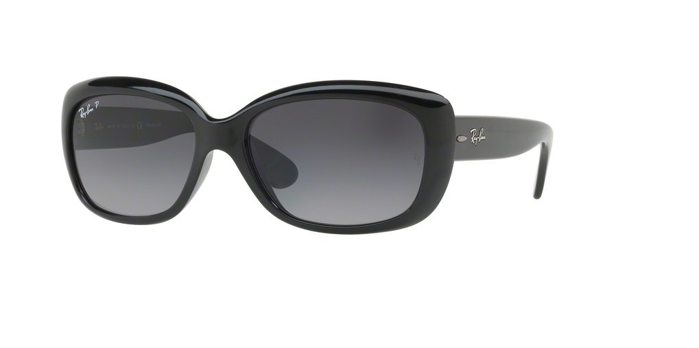 Ray-Ban RB4101 JACKIE OHH 601/T3 58M Shiny Black/Grey Gradient Dark Grey Polarized Sunglasses For Women