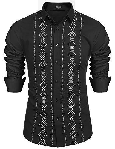 (COOFANDY Men's Casual Cotton Linen Button Down Shirt Long Sleeve Embroidered Guayabera Cuban Shirts)