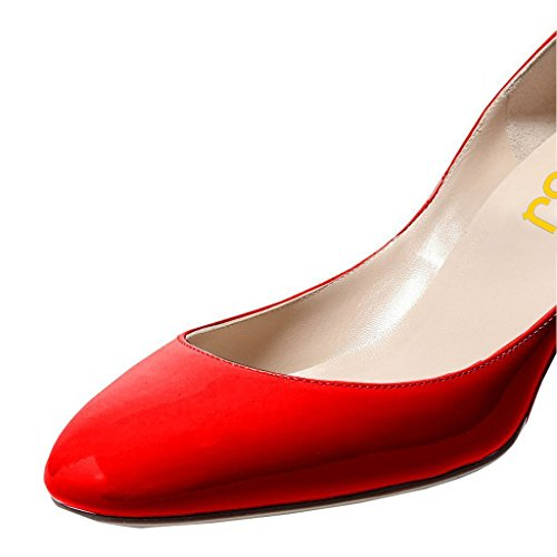FSJ Women Retro Ankle Strap Mid Heels Dress Pumps Almond Toe Patent Leather Shoes Size 8.5 Red Patent by FSJ (Image #4)