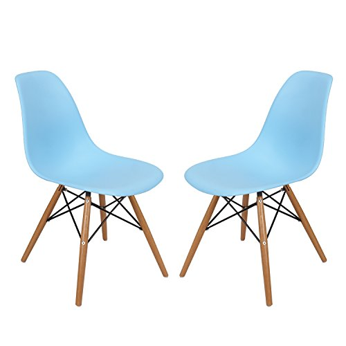 Joveco Plastic Side Chair with Wooden Legs (set of Two)