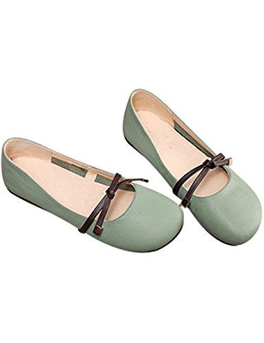 Casuales Zapatillas Pisos Youlee Primavera Cuero Verano Ballet Verde de Mujer ww8IR7