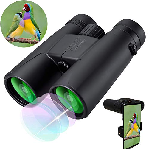 Binoculars for Adults Compact,10X42 HD Compact Binoculars for Adults Birds Watching Hunting Traveling Concerts with Low Night Vision- with Smartphone Adapter/Carry Bag (Best Lightweight Binoculars For Hunting)