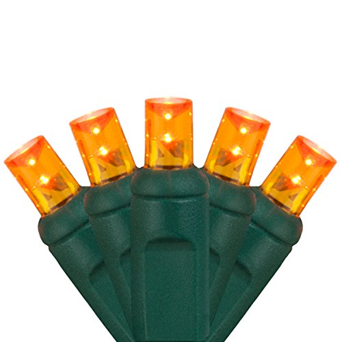5mm LED Wide Angle Amber Prelamped Light Set, Green Wire - 70 5mm Amber LED Christmas Lights, 4