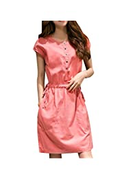 TOPUNDER Button Down Shirt Dress for Women Elegant Knee Length Short Sleeve Dresses Party