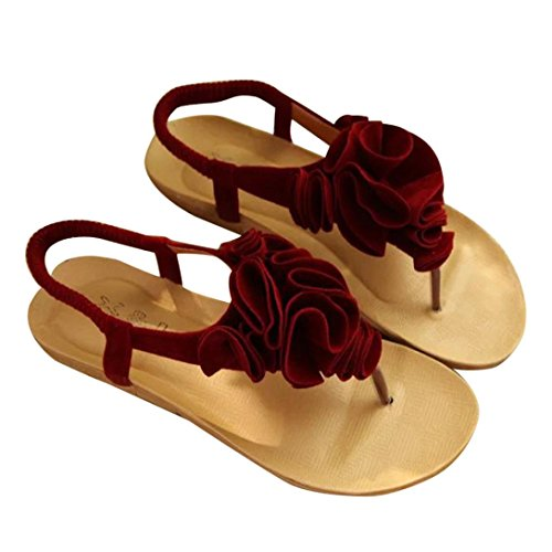 Bovake Summer Women Sandals, Summer Bohemia Sweet Sandals Clip Toe Sandals Beach Shoes - Bohemia Heels Ladies Ankle Strap Buckle Shoes Flat Wedges Shoes Lovely Footwear Flip Flop Sandal Red