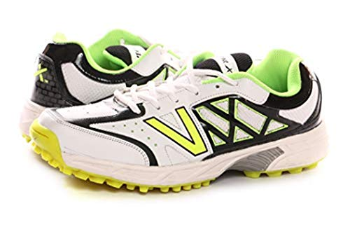 (KD Vector Cricket Shoes Rubber Spike Atomic Pro Hockey Sports Studs Indoor Out Door Trek Shoes (IND/UK 8, White/Black/Green))