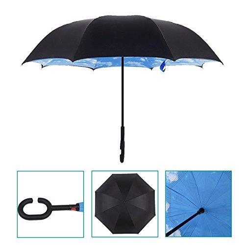 Candora TM boca abajo Reverse paraguas, resistente al viento fuera plegable doble capa puede, se mantiene en pie del revés, manos libres en forma mango azul ...