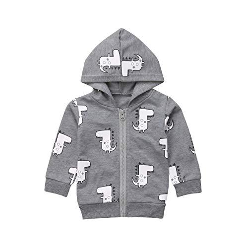 Baby Boy Girl Cartoon Dinosaur Hoodie Sweatshirts T-Shirts Infant Toddler Zip Hooded Sweatsuits Casual Tops Autumn Winter Fashion Coat (Grey, 0-6 Months)