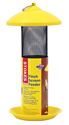 Nyjer Tube Feeder - Stokes Select 38171 Finch Screen Bird Feeder with Metal Roof, Yellow, 1.1 lb Seed Capacity