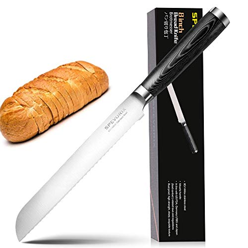 Professional Bread Knife Serrated Blade Stainless Steel Loaf Cake Bread Slicer Knives 8 Inch for Home Professional Kitchen Cook(DJ044)