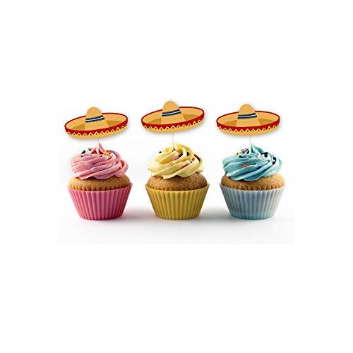 Sombrero Cupcake Topper (20 count) Fiesta, Cactus, Taco Smash Orange Green (Orange Sombrero) by PinkFish Shop (Image #1)