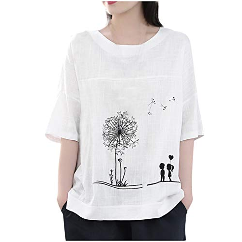 DAYPLAY Plus Size Tops for Women Short Sleeve Cotton Linenen O-Neck Print Blouse Top T-Shirt 2019 Sale (White, 2XL)