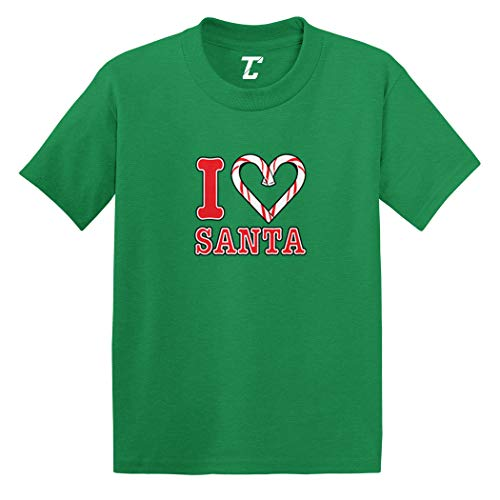 I Love Santa - Candy Cane Heart Infant/Toddler Cotton Jersey T-Shirt (Kelly, 2T)