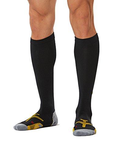 2XU Men's Flight Compression Socks, Black/Yellow, Large