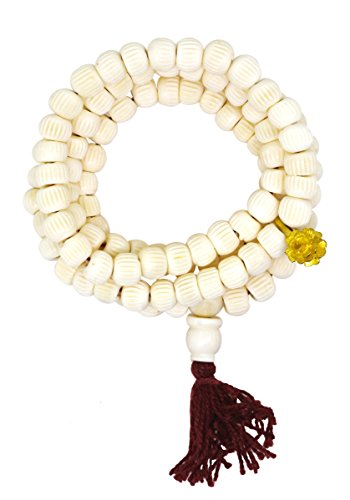 Yoga Meditation Carved Yak Bone 108 Prayer Beads Mala Necklace with a Charm (Rose - Beads Carved Flower Gemstone