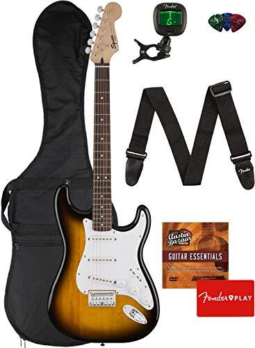 Fender Squier Bullet Stratocaster Hard Tail Guitar - Laurel Fingerboard, Brown Sunburst Bundle with Gig Bag, Tuner, Strap, Picks, and Austin Bazaar Instructional DVD