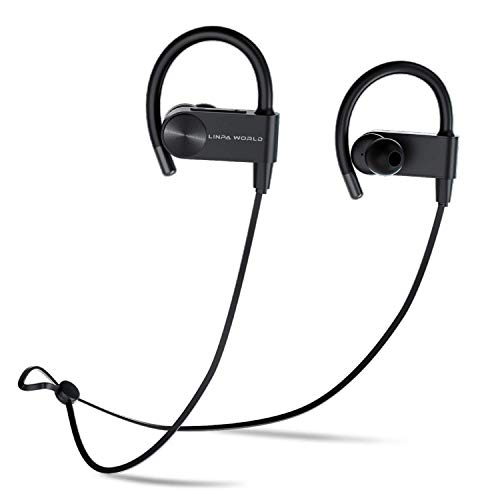 Bluetooth Headphones L LINPA WORLD LEB56 Wireless Sports, Earbuds Fast Fuel Waterproof Bluetooth 5.0 HiFi Bass Stereo Earphones with Microphone 12 Hours Playtime for Workout Running Headset-Black