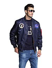 19dc713e0eb CORIRESHA Mens NASA Embroidery Badge Slim Fit Bomber Jackets Zipper  Windbreaker