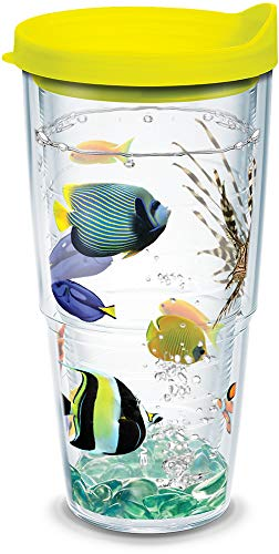 (Tervis 1124146 Tropical Fish Insulated Tumbler with Wrap and Neon Yellow Lid, 24 oz, Clear)