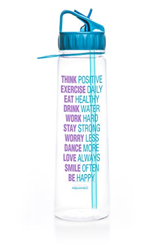 30oz Inspirational Water Bottle With Time Marker and Measurements (Think Positive Aqua)