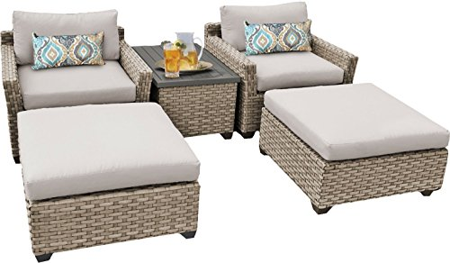 TK Classics MONTEREY-05a 5 Piece Monterey-05A Outdoor Wicker Patio Furniture Set, Beige - Luxury Patio Furniture Color : Beige Designed to create luxurious outdoor living environment - patio-furniture, patio, conversation-sets - 41Ikha7PyYL -