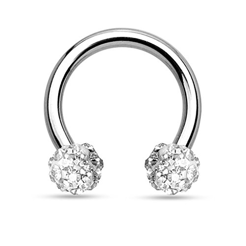 16G Crystal Paved Ferido Balls Stainless Steel Horseshoe Hoop Multi-functional Captive Ring for Nose Daith Lip Eyebrow Nipple Ear Cartilage Helix Septum (White)