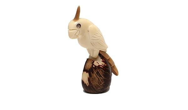 Con diseño de papagayo - Escultura de acero de Tagua (marfil vegetal): Amazon.es: Hogar
