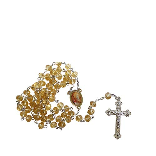 Gifts by Lulee, LLC Our Lady of Lourdes Virgen de Lourdes Yellow Scapolite Faceted Rondelle 8mm Beads Rosary with Silver Plated Tertium Millenium Crucifix and Medal Centerpiece Includes a Prayer Card