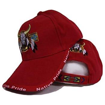 b872c2cbeda17 K s Novelties Bull Skull Buffalo Indian Native Pride Red Embroidered Ball Cap  Hat