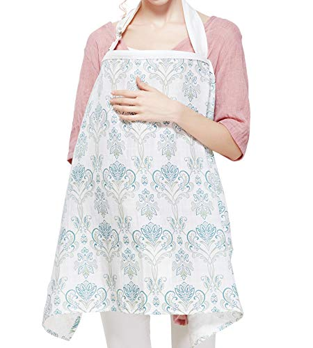 Breastfeeding Nursing Cover,Breathable Cotton Privacy Feeding Cover, Feeding Apron,Adjustable Strap, Stylish and Elegant (Style 4)