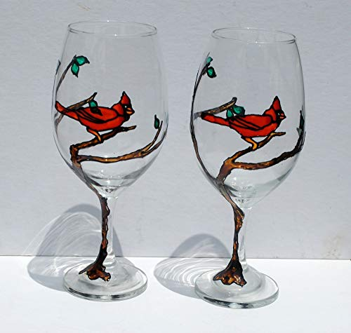 (Red Cardinal Bird Sitting in a Tree Hand Painted Wine Glasses (Set of 2))