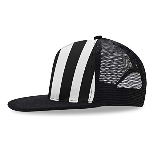 (YongColer Adjustable Snapback Baseball Cap, Black White Striped Cap Women Men Hip Hop Flat Bill Brim Hats for Dancing Hunting Fishing Outdoor Activities)