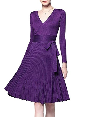 1 Style Sleeve Dark Knee V Knitted Women Elegant Length Purple Slim Line Neck Dress Vivimos A R Autumn Long Sweater naTIqX