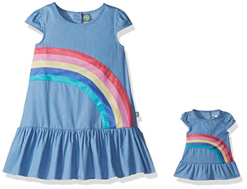 Dollie & Me Little Girls' Rainbow Dress and Matching Doll Outfit, Chambray, 4 (Dolly And Me Outfits For Girls)