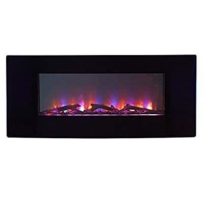 Firefly 16in-42-109C Wi-Fi Smart LED Wall Mounted Electric Fireplace with Bluetooth Speaker, Black, Extra Wide TM by the Firefly