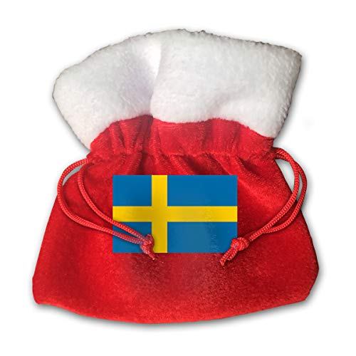 CYINO Personalized Santa Sack,Sweden Flag Portable Christmas Drawstring Gift Bag (Red)