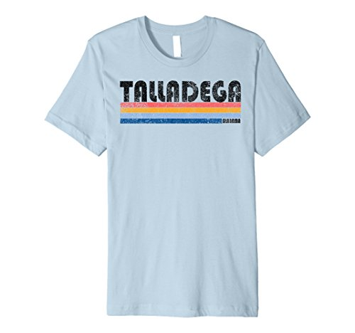 Mens 80s Style (Mens Premium Vintage 1980s Style Talladega AL T Shirt Large Baby Blue)