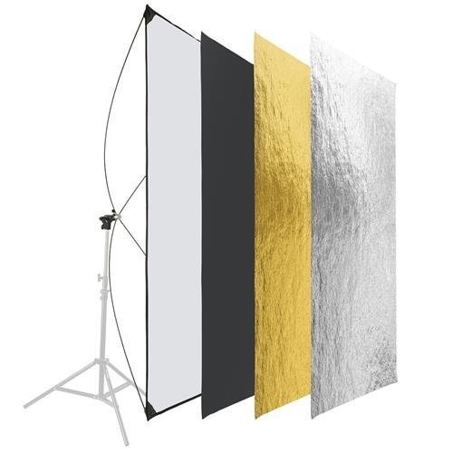 Glow Light Reflector Panel for Photo Studio Photography 35 x 70'' with Stand Bracket Rotating Rod Adapter, Aluminum Rods, Carry Bag by Glow