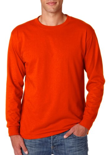 Jerzees Men's 5.6 Oz., Active Long-Sleeve T-Shirt, Burnt orange, - Sleeve Shirt T Burnt Orange Long