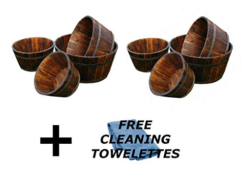 Shine Company Inc. Cedar Round Barrel Set, Shallow, Burnt Brown (Set of 8) + Include Free Microfiber Cleaning Towelettes
