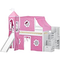Jackpot Princess Low Loft Stairway Bed in White with Slide, Pink and White Tent and Tower