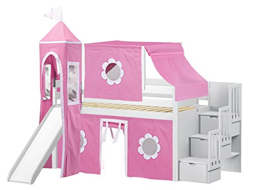 - JACKPOT! Princess Low Loft Stairway Bed with Slide Pink & White Tent and Tower, Loft Bed, Twin, White
