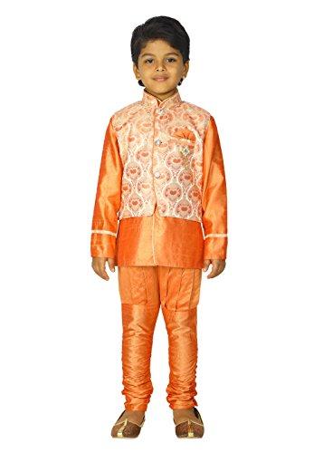 Ahhaaaa Kids Ethnic Indian Dupion Silk Kurta Pyjama and Waistcoat Set for Baby Boys (9-10 Years, Orange) by ahhaaaa (Image #5)